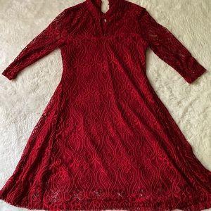 Red Papillon Lace High Neck Mini Dress sz S